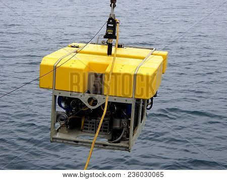 Launching The Rov To Get Samples Of The Sea Bottom For Science Expedition