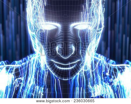 Artificial Intelligence Concept With Virtual Human Avatar. 3d Illustration. Suitable For Technology,