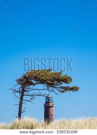 Lighthouse Darsser Ort On The Baltic Sea Coast.