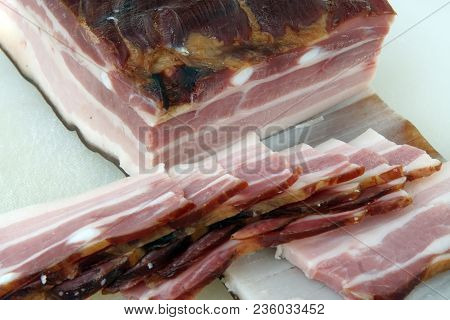 Smoked Bacon Slices. Bacon Meat Slices. Smoked Bacon.