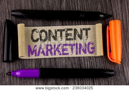 Conceptual Hand Writing Showing Content Marketing. Business Photo Text Digital Marketing Strategy Fi
