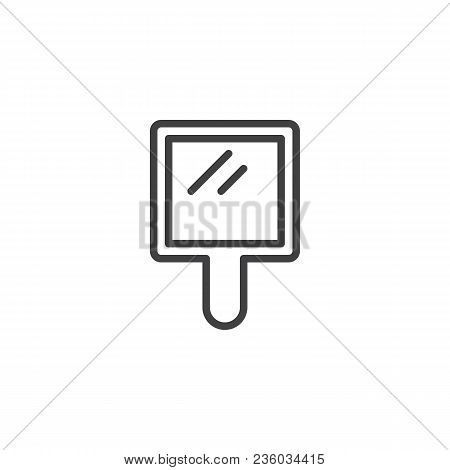Handle Mirror Outline Icon. Linear Style Sign For Mobile Concept And Web Design. Simple Line Vector