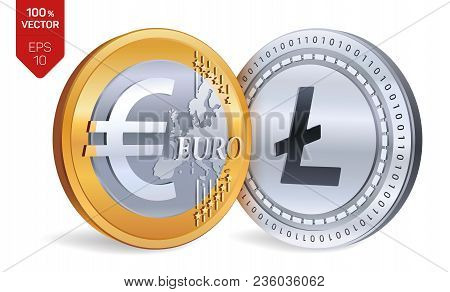 Litecoin. Euro. 3d Isometric Physical Coins. Digital Currency. Cryptocurrency. Golden And Silver Coi