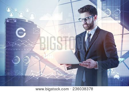 Future, Technology And Analytics Concept. Businessman Using Laptop With Digital Business Interface O