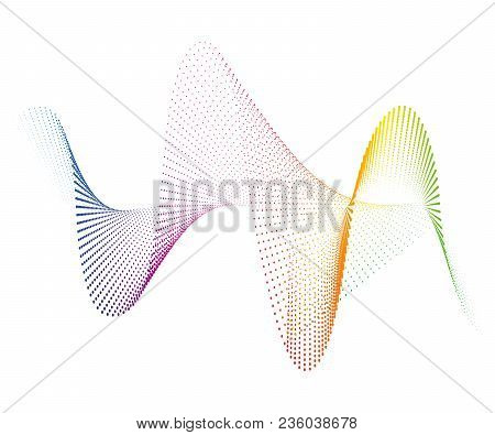 Abstract Smooth Curved Lines From Dots Halftone Rainbow Design Element Technological Background With