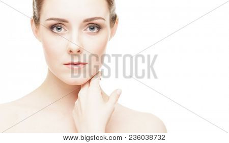 Spa portrait of beautiful, fresh and healthy woman. Human face isolated on white background.