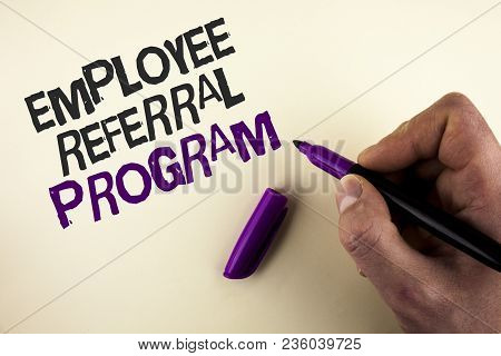 Conceptual Hand Writing Showing Employee Referral Program. Business Photo Showcasing Recommend Right