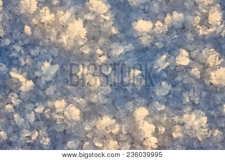 The Patterns On The Frozen Lake. Abstract Background Of Ice On The Surface Of Frozen Lake