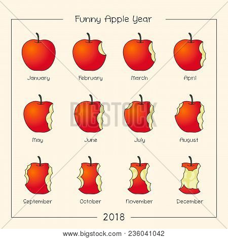 Funny Apple Year. Apples As Icons Months. Months Logo