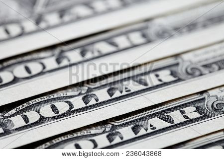 Close Up Of Us One Dollar Bills. One Dollar Banknotes Background