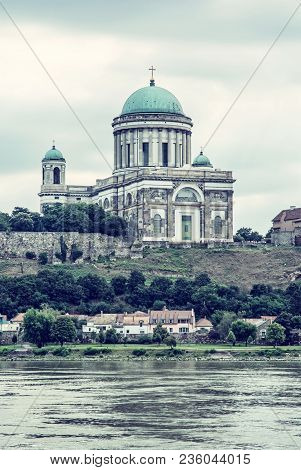 Beautiful Basilica And Danube River In Esztergom, Hungary. Cultural Heritage. Travel Destination. Pl