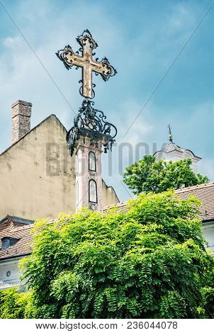Detail Of Holy Cross In Szentendre, Hungary. Religious Architecture. Place Of Worship. Symbolic Obje