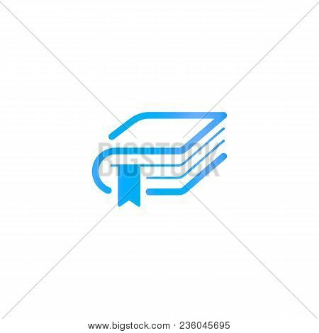 Book With A Bookmark, Education Logo Template. Library Or Publisher Logotype. Abstract Silhouette In