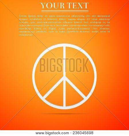 Peace Sign Icon Isolated On Orange Background. Hippie Symbol Of Peace. Flat Design. Vector Illustrat