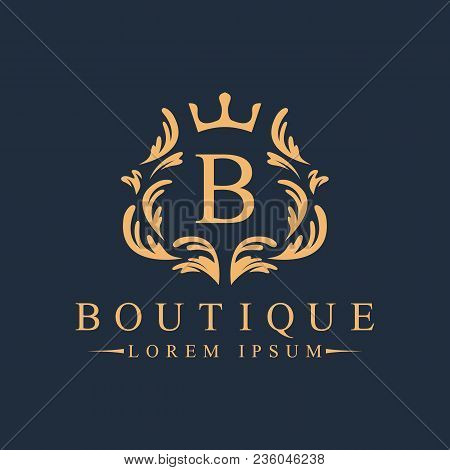 Luxury, Heraldic, Royal, Decoration, Boutique Logo. Interior Icon. Fashion, Jewelry, Beauty Salon, H