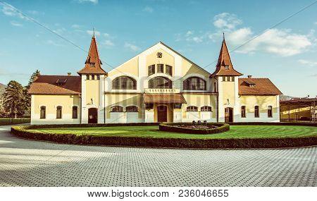 Historic Building Of National Stud Farm, Topolcianky, Slovak Republic. Architectural Theme. Travel D