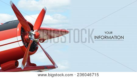 Red Plane With Propeller Flying In Blue Skies Pattern Background