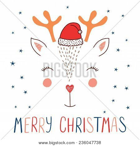 Hand Drawn Vector Illustration Of A Cute Funny Deer Face In Santa Claus Hat, Text Merry Christmas. I