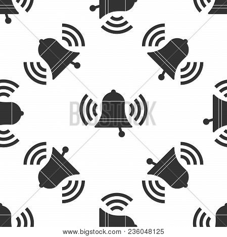 Ringing Bell Icon Seamless Pattern On White Background. Alarm Symbol, Service Bell, Handbell Sign, N