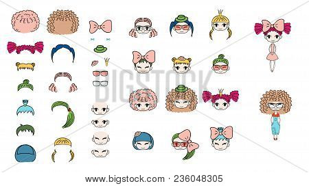 Collection Of Hand Drawn Vector Doodles Of Kawaii Funny Girls Heads With Different Hairstyles, Acces