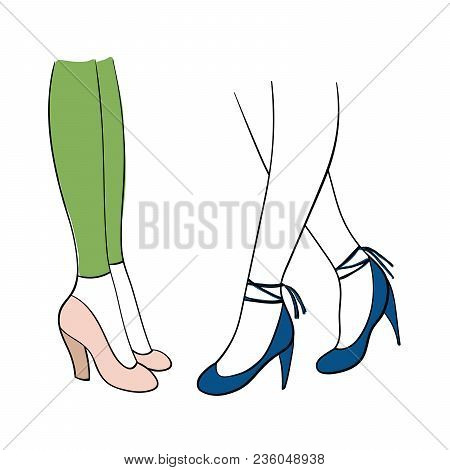 Hand Drawn Vector Illustration Of Female Legs In Beautiful Trendy Shoes - Thick Heeled Pink Pumps An