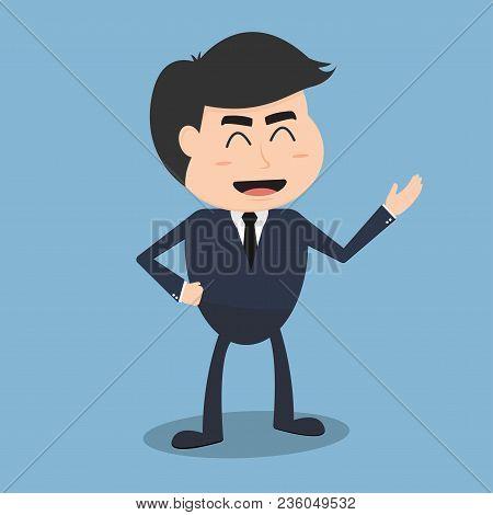 Business Man Smile Cartoon Character. Vector Illustration