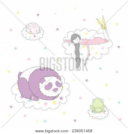 Hand Drawn Vector Illustration Of A Cute Funny Bunny, Panda, Frog And Girl With Long Braided Hair Fl