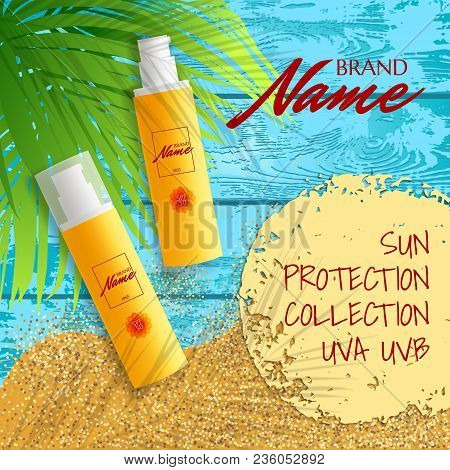 Design Of Advertising Poster For Cosmetics For Catalogs And Magazines. Sunscreen, Lasen, Oil. Protec