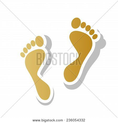 Foot Prints Sign. Vector. Golden Gradient Icon With White Contour And Rotated Gray Shadow At White B