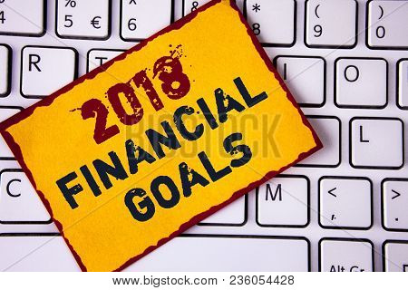 Handwriting Text Writing 2018 Financial Goals. Concept Meaning New Business Strategy Earn More Profi
