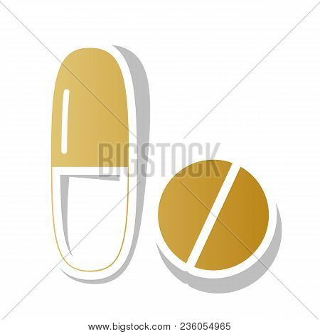 Medical Pills Sign. Vector. Golden Gradient Icon With White Contour And Rotated Gray Shadow At White