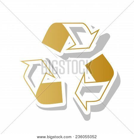Recycle Logo Concept. Vector. Golden Gradient Icon With White Contour And Rotated Gray Shadow At Whi