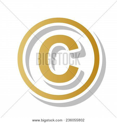 Copyright Sign Illustration. Vector. Golden Gradient Icon With White Contour And Rotated Gray Shadow