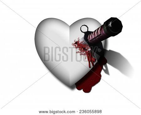 Bleeding heart with bloody knife. 3D rendering