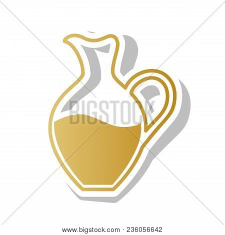 Amphora Sign. Vector. Golden Gradient Icon With White Contour And Rotated Gray Shadow At White Backg