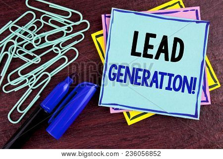 Handwriting Text Lead Generation Motivational Call. Concept Meaning Sales Pipeline Digital Generatin