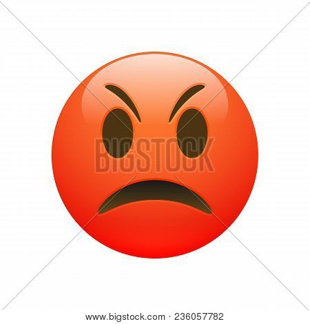 Vector Emoji Red Angry Sad Face With Eyes And Mouth On White Background. Funny Cartoon Emoji Icon. 3