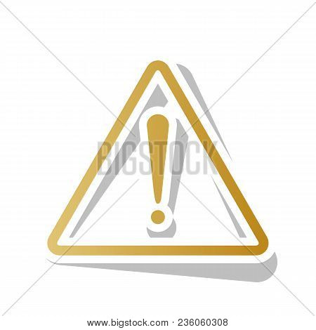 Exclamation Danger Sign. Flat Style. Vector. Golden Gradient Icon With White Contour And Rotated Gra