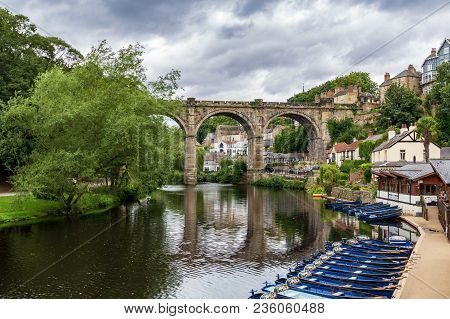 Knaresborough, North Yorkshire, England, Uk - September 09, 2016: View Across The River Nidd And The