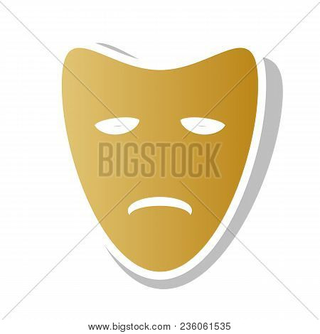 Tragedy Theatrical Masks. Vector. Golden Gradient Icon With White Contour And Rotated Gray Shadow At