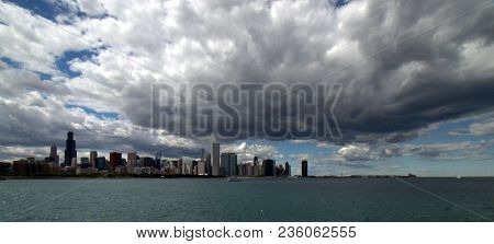 Panoramic View Of The Chicago Skyline From Navy Pier To Museum Campus In Summer Along Lake Michigan