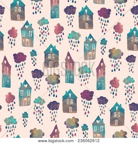 Seamless Pattern With Hand Painted Houses And Clouds With Falling Raindrops. Colorful Watercolor Bac