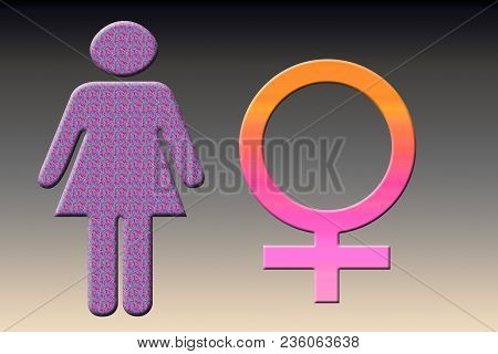 Female Shape With Female Sign On  A Multi Colored Gradient.