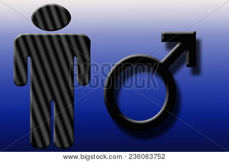 Male Shape With Male Sign On A Multi Colored Gradient.