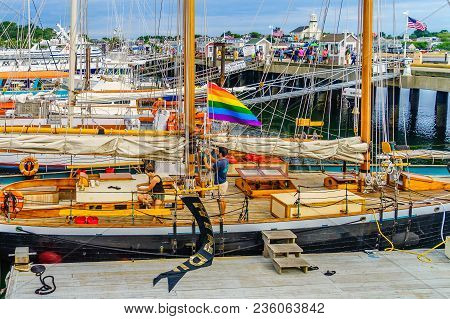 Provincetown, Cape Cod, Massachusetts, Us - August 15, 2017 Yacht And His Crew In Marina