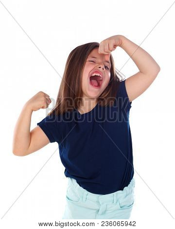 Funny child showing her muscles isolated on a white background