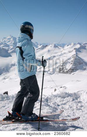 Skier In Helmet