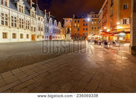 Square Of Justice In The Old City At Night. Grenoble. France.