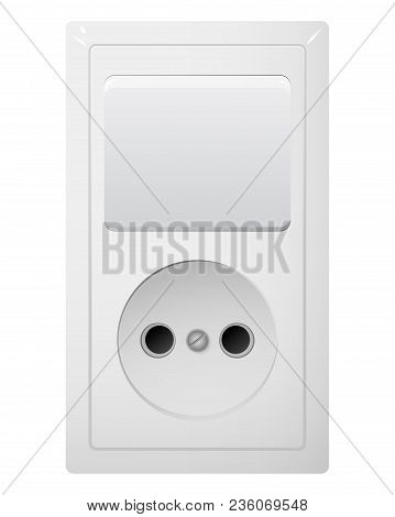 Electrical Socket Type C With Switch. Power Plug Vector Illustration. Realistic Receptacle From Euro