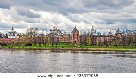 The Ancient Architecture Of The Ancient Russian City Of Veliky Novgorod On The Banks Of The Volkhov